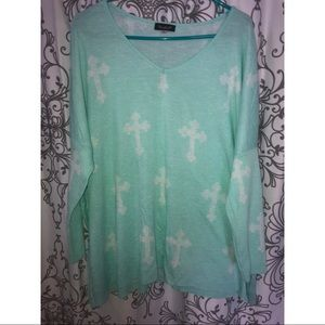Nasty Gal mint over sized cross sweater